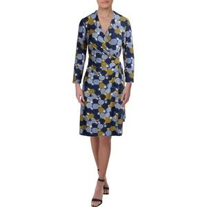 Anne Klein Womens Jersey 3/4 Sleeves Cocktail Dres